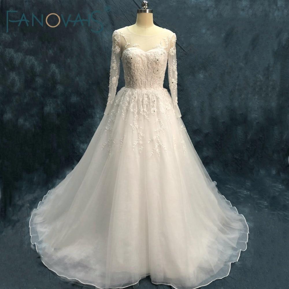 Luxury Beads Wedding Dresses Long Sleeves A Line Vestido de Novia Robe de Mariage 2019 Crystal Wedding Gowns
