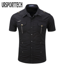 New Casual Fashion Mens Short-Sleeved Shirt Outdoor Military Wild Trend Size Maximum 3XL
