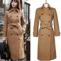 2017 New Women's Winter Wool Coat Russian Woman High Quality Winter Long Coat Military Uniform Style Overcoat