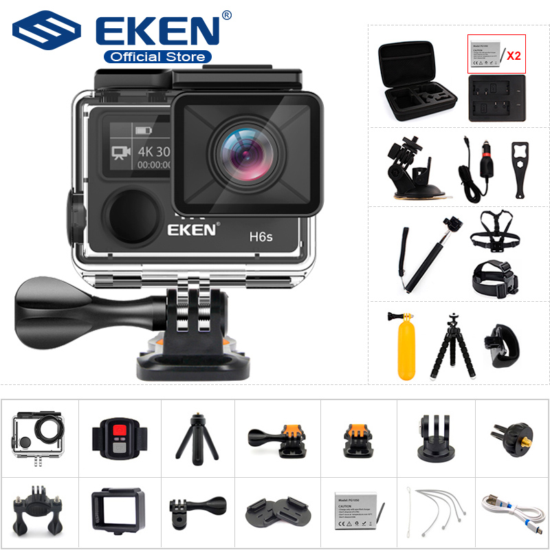 US $75 98 25% OFF|Original EKEN H6S Ultra HD Action Camera with Ambarella  A12 chip 4k/30fps 1080p/60fps EIS 30M waterproof sport Camera-in Sports &