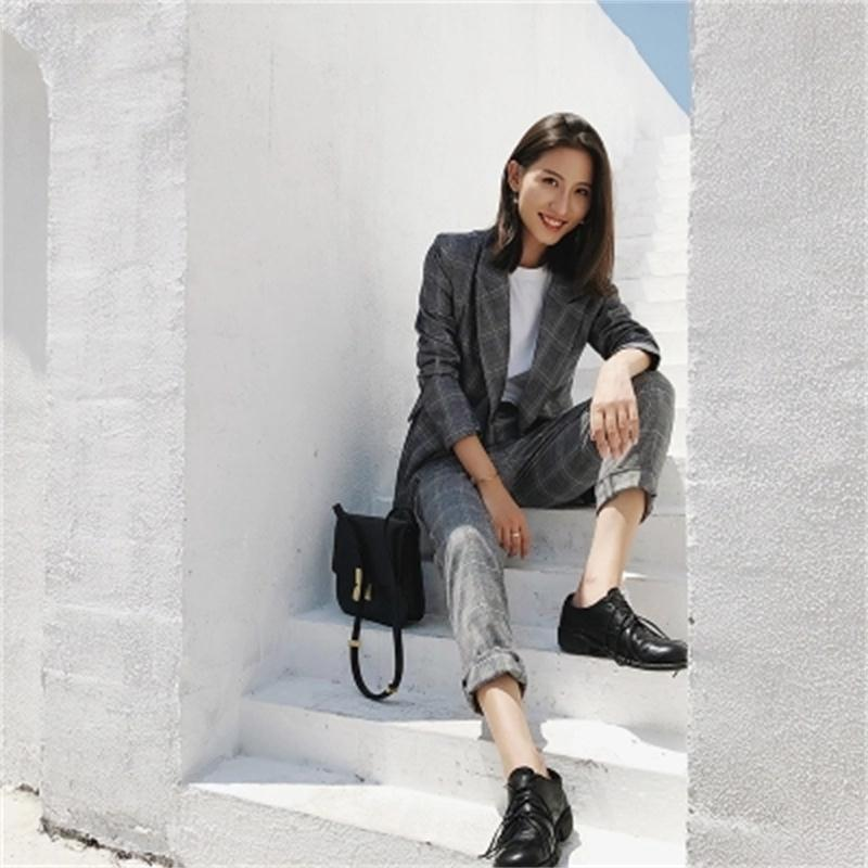 New high quality autumn fashion casual plaid suit jacket female British wind Loose small suit set two piece Suits Women