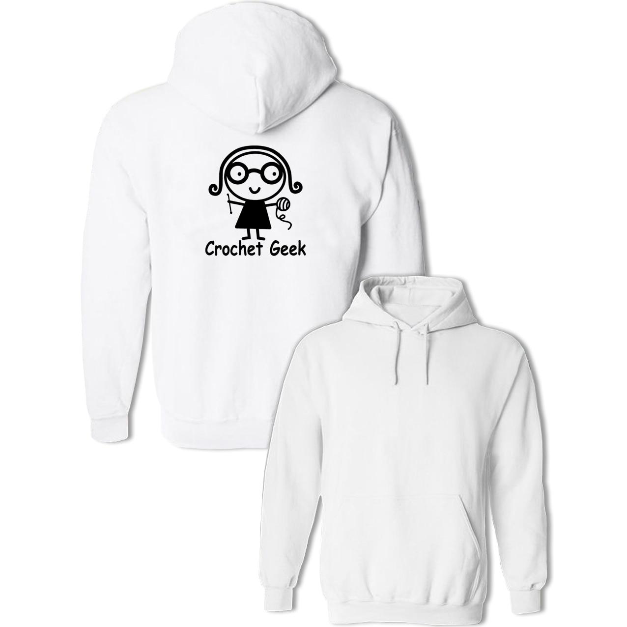 Kawaii Crochet Geek Design Hoodies Women Harajuku Jackets Spring Autumn Early Winter Pullovers Hip Hop Sweatshirts for Lady Girl