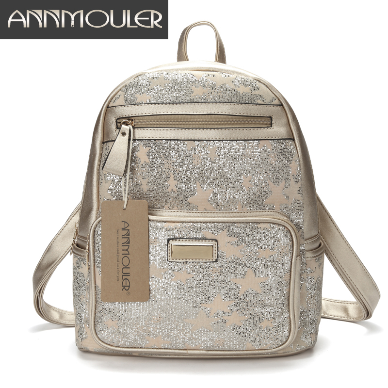 Annmouler High Quality Women Backpacks Pu Leather Shoulder Bag Patchwork Shining Daypack Star Sequin School Bag for GirlsAnnmouler High Quality Women Backpacks Pu Leather Shoulder Bag Patchwork Shining Daypack Star Sequin School Bag for Girls