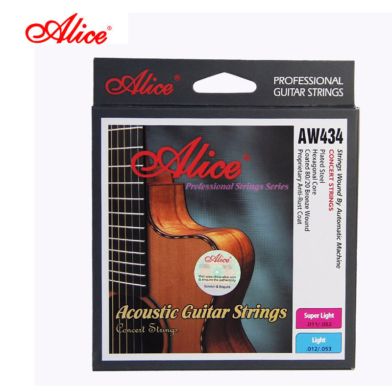 ALICE Brand String For Acoustic Guitar 6 Pcs/set High Quality Stainless Steel Wire Core Guitarra Strings AW434 rotosound rs66lc bass strings stainless steel