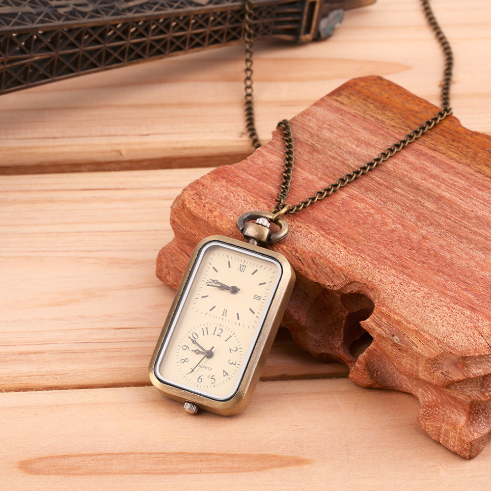 Antique Bronze Quartz Pocket Watch For Men Women Dual Double Time Zone Movement Gift  Pendant Necklace Relogio Masculino