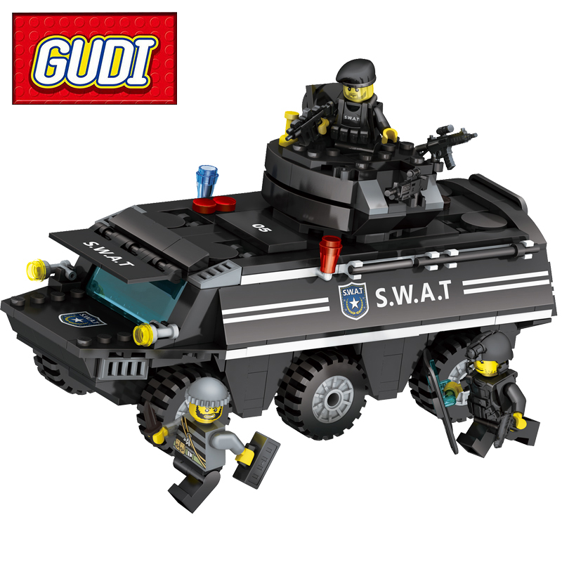GUDI 9412 SWAT Armored vehicles 349pcs Building Block Sets Kids DIY Bricks Models Educational Toys For Children jie star 29012 swat truck 302pcs diy educational plastic children toys building block sets