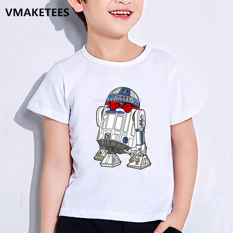 Niños Star Wars Robot R2-D2 de impresión de dibujos animados T camisas de verano de los niños niñas y niños de cuello redondo, camiseta de bebé Clothesooo5193