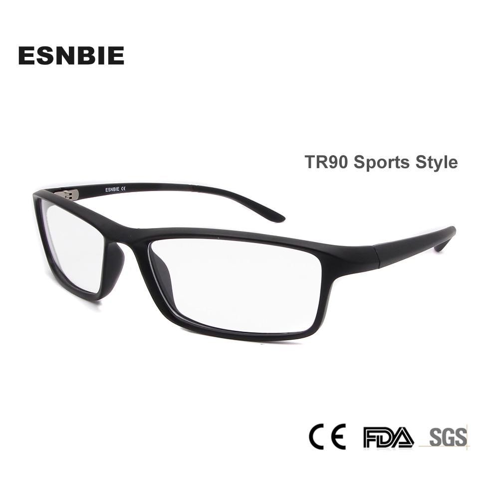 ESNBIE TR90 Ανδρικά Οπτικά Γυαλιά Πλαίσιο Πλαϊνά Γυαλιά Οράσεως Πλαίσια Μαύρα Ματ Μαύρα Γυαλιά Clear Lens New Oculos 78207
