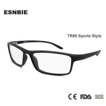 ESNBIE TR90 Men Optical Glasses Frame Square Eyeglasses Frame Male Matt Black Glasses Clear Lens New Oculos 78207