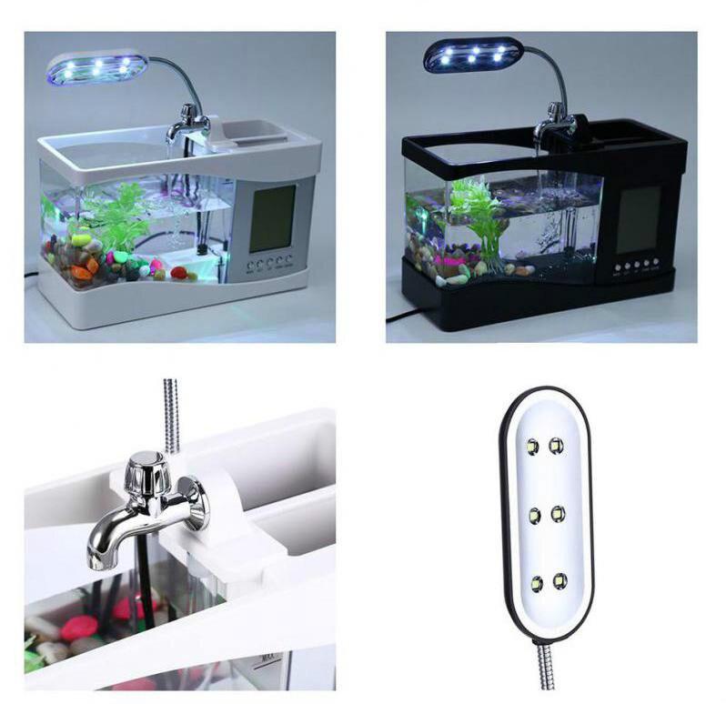 USB Mini Aquarium Aquarium Aquarium bureau électronique réservoir de poissons décoration avec de l'eau en cours d'exécution LED pompe lumière calendrier horloge blanc et noir - 3