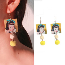 2019 Wood earrings Long square photo face Korean cute little girl call phone ball ear hook female pearl earrings for women(China)