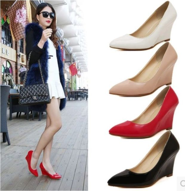 2e981d89ff4 New Women Basic Models Career Wedges High Heels Pumps Fashion Pointed Toe  Women Work Shoes Slope Single Shoes 4Color Woman Shoes