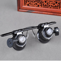 20x15mm Glasses Type Watch Repair Illuminated Magnifier with LED Light for Jewelry Appraisal Gem Identification Loupe