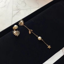 DZ Vintage Bronze Bee Pearl Stud Earring Asymmetry Women Wedding Insect Beads 925 Silver Ear Pin Star Leaf Zircon Pearl Jewelry(China)