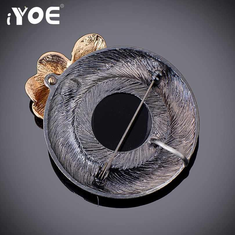 Iyoe Fashion Gaya Besar Hitam Vintage Bros untuk Wanita Silver Plated Clover Rhinestone Bros dan Pin Kerah Aksesoris