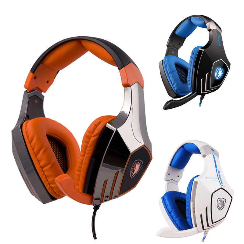 High Quality SADES A60 7.1 Sound Track Gaming Headset Earphone Headphone With Mic Stereo Bass LED Lamp Breathing For PC Game brand ttlife a8 gaming headset shock led bass sound earphone 2 0m wired headphone voice control with mic for computer gaming