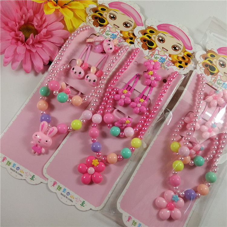 3pcs/set Sweet Children' Jewelry Set, Macarons Cute Resin Bead Necklace Ring And Hairgrips, Flower Candy Pendant, Wholesale