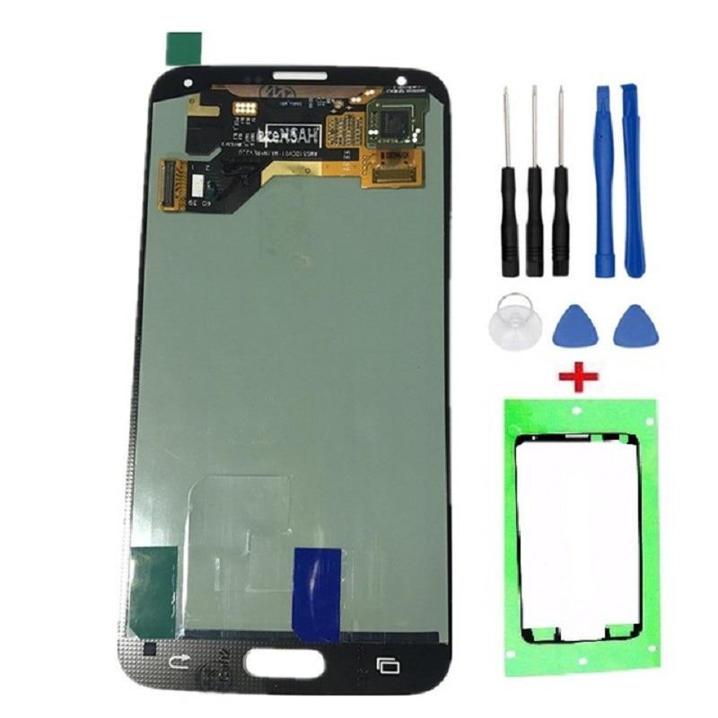 Alta calidad AMOLED reparación de piezas para Samsung Galaxy S5 g900 g900f pantalla LCD pantalla táctil digitizador Asamblea + Herramientas + cintas