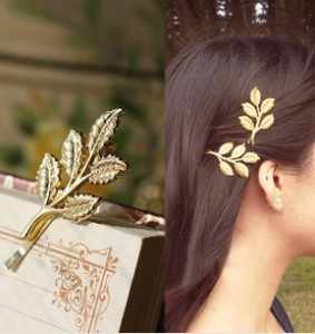 European and American retro Sen Department of olive branches leaves beautiful bride jewelry hairpin side folder  free shipping