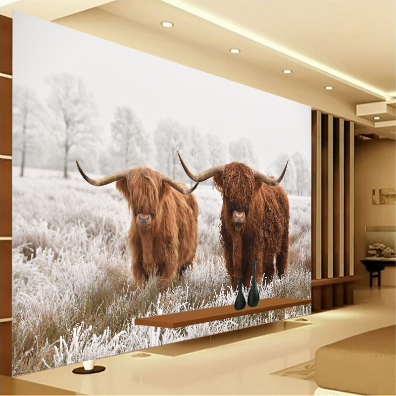 Custom Highland Cow PVC Poster Cattle Canvas Art Paintings Yak Wall Living Room Bedroom Home Decoration YBZ207