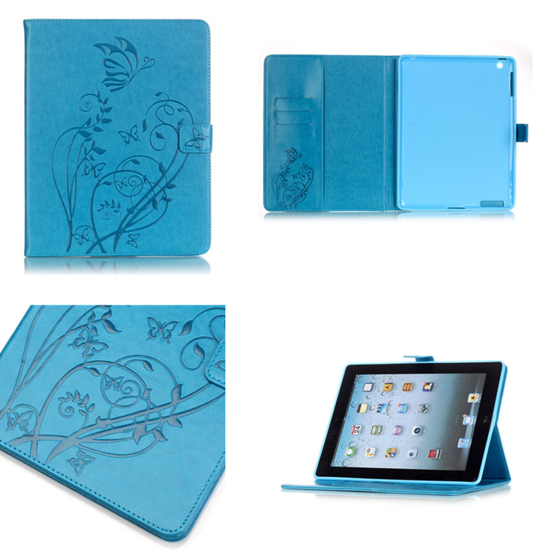 YB Luxury girl Flower PU leather Stand  case For apple ipad 2 3 4  Beautiful cover For Ipad2 ipad3 ipad4 Tablet Full protection foldable pu leather pad cover with flower girl driving style inlaid diamond support stand for ipad mini 3