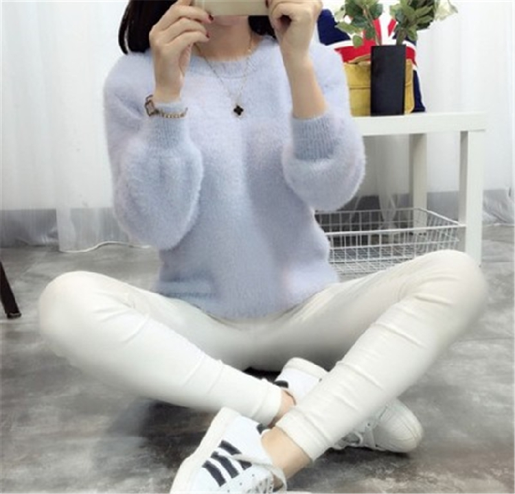 19 Sweater Women Fashion Casual Simple Lantern Sleeve Solid Color Loose Comfort Cashmere Knitting Mohair Fur Pullover USWMIE 4