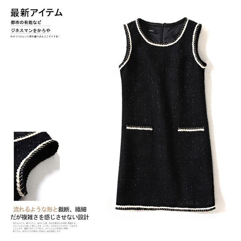 Brand Designer 2019 Spring Women Slim Black Tweed Dress Female Pockets Chain Twist Lurex O-neck Mini Dresses Y123