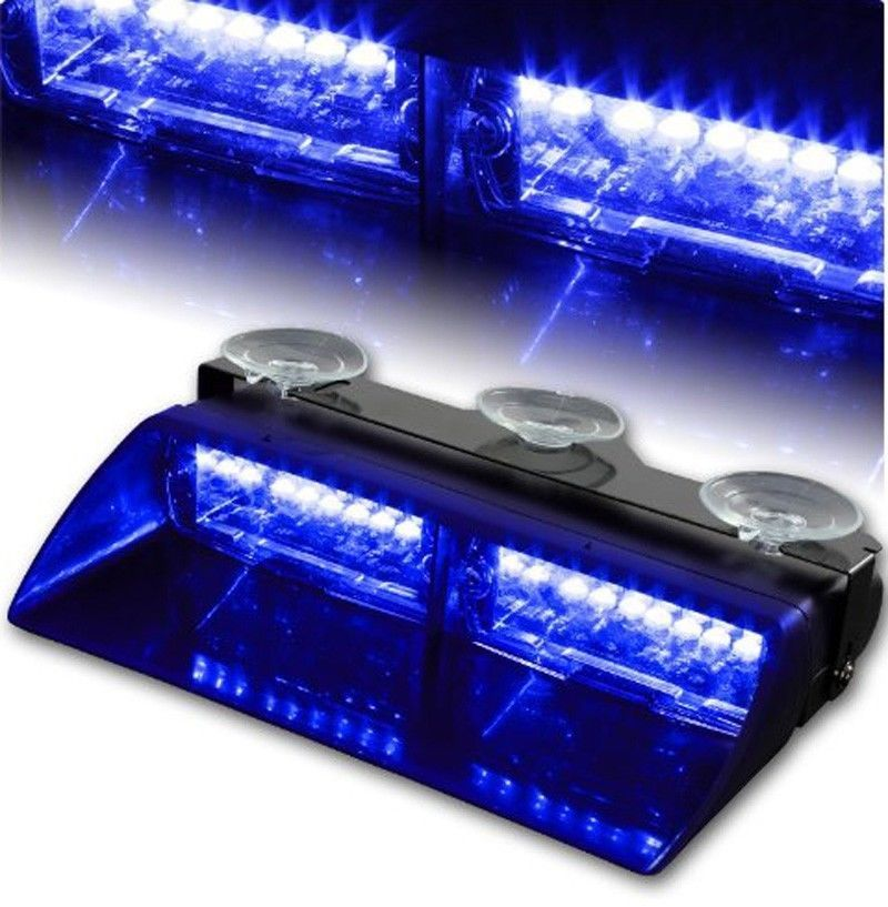 Car 16 led 18 Flashing Mode Emergency Vehicle Warning Strobe Flash Light  Blue 16LED(China