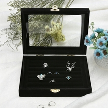 Ring Earrings Jewelry Box Display Storage Velvet Jewelry Case Casket Glass Cover Jewelry Organizer Holder Rack for Ring Earring