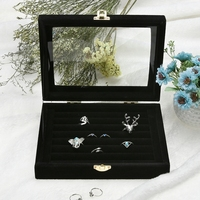 Ring Earrings Jewelry Display Storage Box Case Casket Jewelry Organizer Holder Rack For Ring Earring