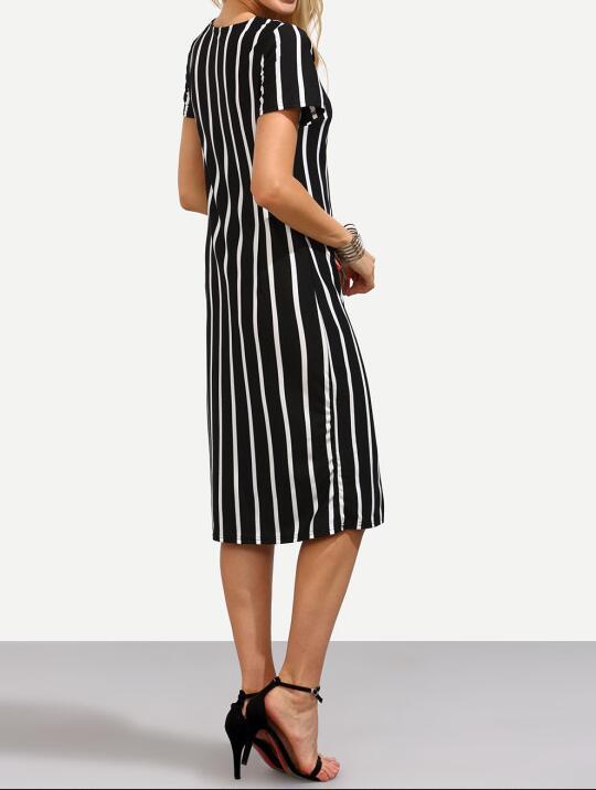 2019 Summer new Women Vertical Striped Fitness Dresses Work Summer Style New Short Sleeve Sheath Office Midi Dress