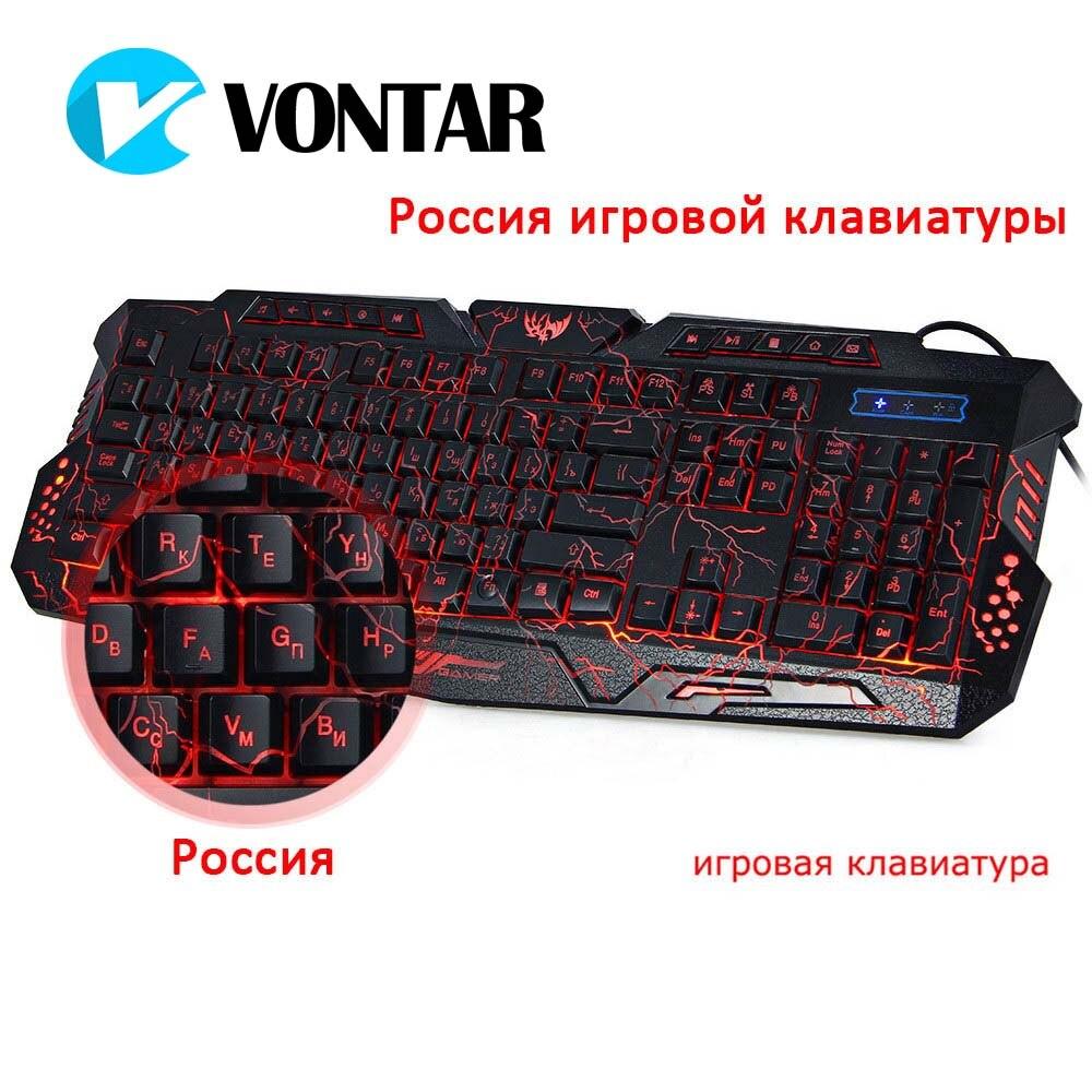 VONTAR M200 ruso inglés 3 colores de fondo con cable USB teclado de juego con brillo ajustable para computadora de escritorio PC