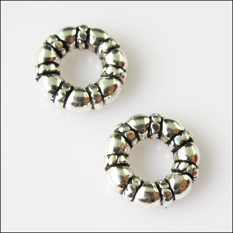 Beads Dutiful 10pcs Antiqued Silver Tone Tiny Round Circle Spacer Beads Charms 11.5mm