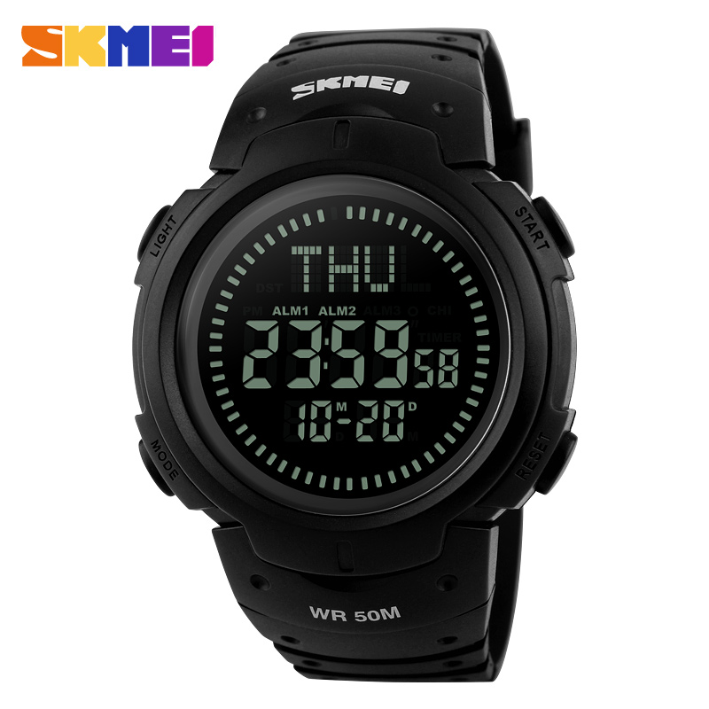 <font><b>SKMEI</b></font> Men Digital Outdoor Smart Wristwatches World Time DST Compass Military Calendar Relogio Masculino Sport Watches <font><b>1231</b></font> image