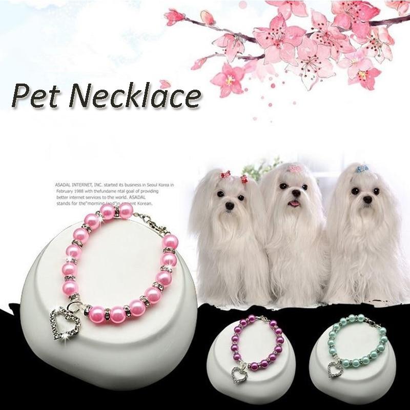 Puppy Dog Bead Necklace Collar Heart Pendant Decor font b Pet b font Teddy Poddle Accessories