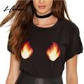 Hodoyi nuevas mujeres camisetas negro fuego sexy breve de dibujos animados de impresión del o-cuello de manga corta tops flojo ocasional estilo de la calle camiseta