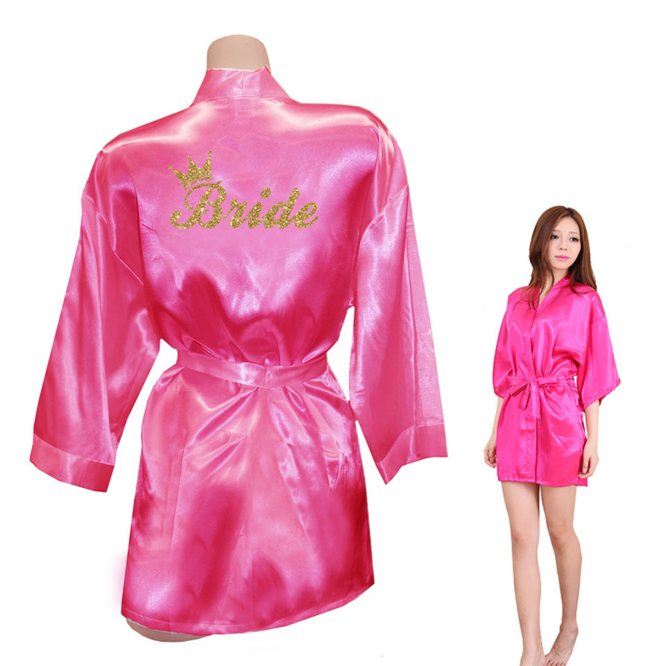 Bride Crown Team Bride Golden Glitter Print Kimono Robes Faux Silk ... b2d7ad486