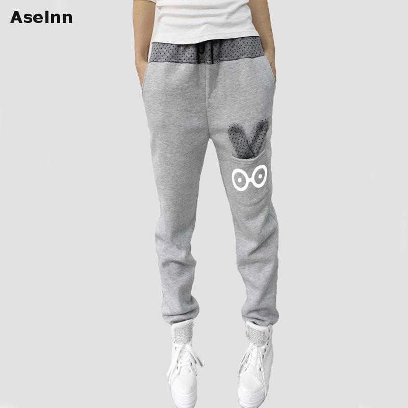 Aselnn Women Pants Casual Sweatpants Loose Cartoon Rabbit Harem Pants Trousers Women Joggers 2017 Spring Women Clothes