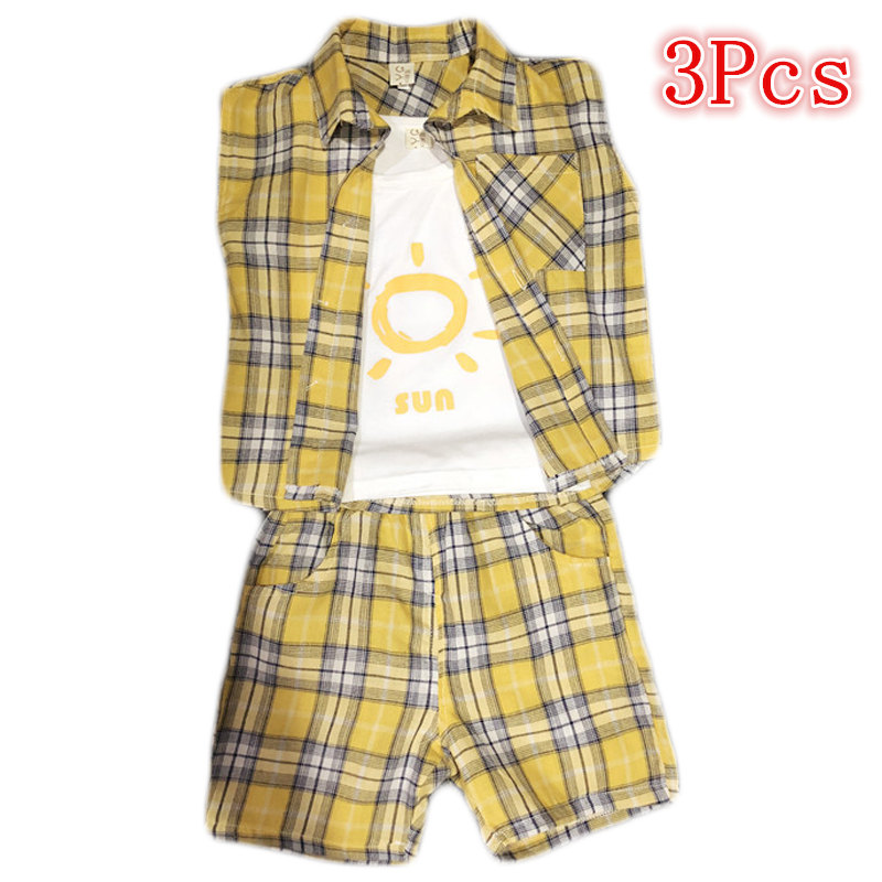 Active Boys Sets Sports Suit Casual Boys Summer Short Sleeve T-shirt + Plaid Pants + Shirt 3 Pieces Clothing Set 2 3 4 5 7 Years
