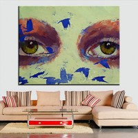 Hand Painted Oil Painting woman eyes crow Wall painting Home Decorative Wall Art Picture For Living Room painting No Frame
