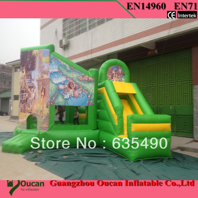 2016new commodity free shipping PVC5x4 4m tarpaulin inflatable font b bouncers b font with slide for