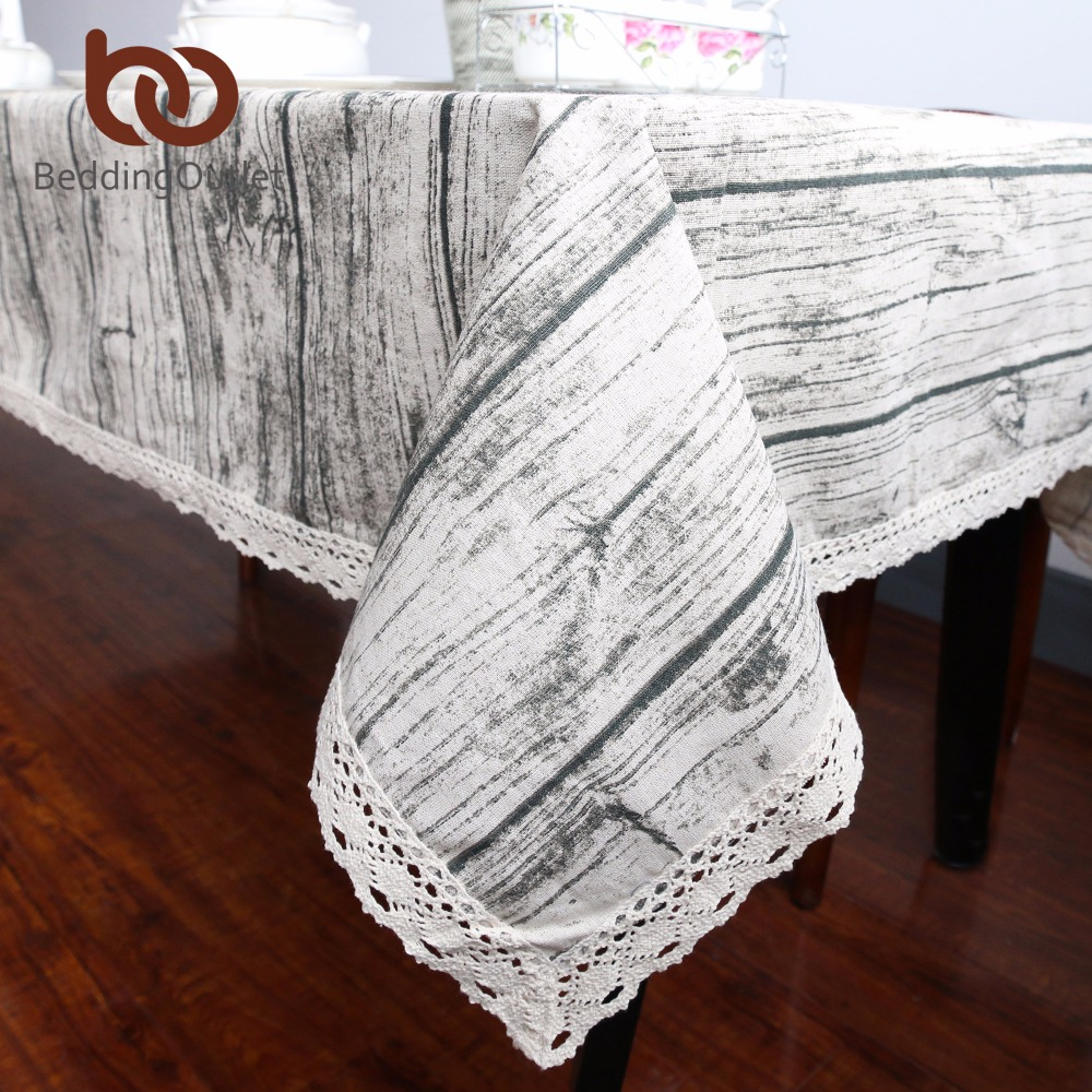 BeddingOutlet Vintage Wood Grain Table Cloth Simulation Patterned Rustic Tablecloth Rectangle Table Cover With Lace Cotton Linen