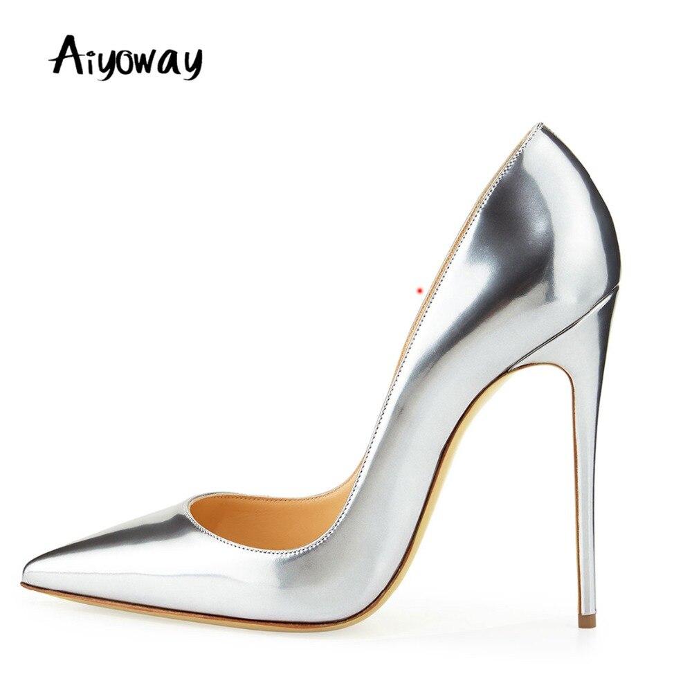 Bout pointu talons hauts pompes miroir métallique en cuir verni femmes Sexy chaussures dames Clubwear chaussures de fête Stiletto