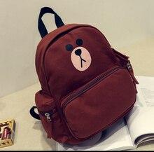 Маленький медведь мультфильм печати милые прекрасные рюкзаки женская мода студент опрятный стиль холст путешествия сумка мешок школы для подростков