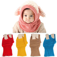 High Quality Winter Baby Kids Girls Boys Warm Woolen Coif Hood Scarf Caps Hats Toys Wholesales