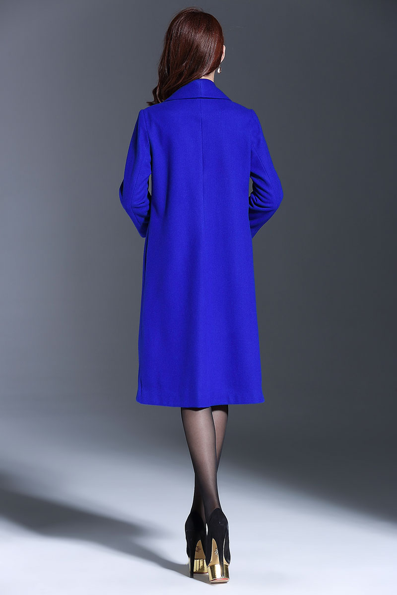 Vintage Lady Lâche Royal Manteau M Femme bleu Élégant Taille La 4xl Tranchée Chinois Style Plus Broderie Laine Piste Noir Hiver Manteaux ARqc5jLS34