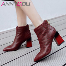 ANNYMOLI Women Boots Winter Ankle Boots Genuine Leather Block High Heel Short Boots Zip Pointed Toe Shoes Female Autumn Size 39 annymoli winter ankle boots women rhinestone stiletto high heel short boots zip pointed toe shoes ladies autumn plus size 34 43