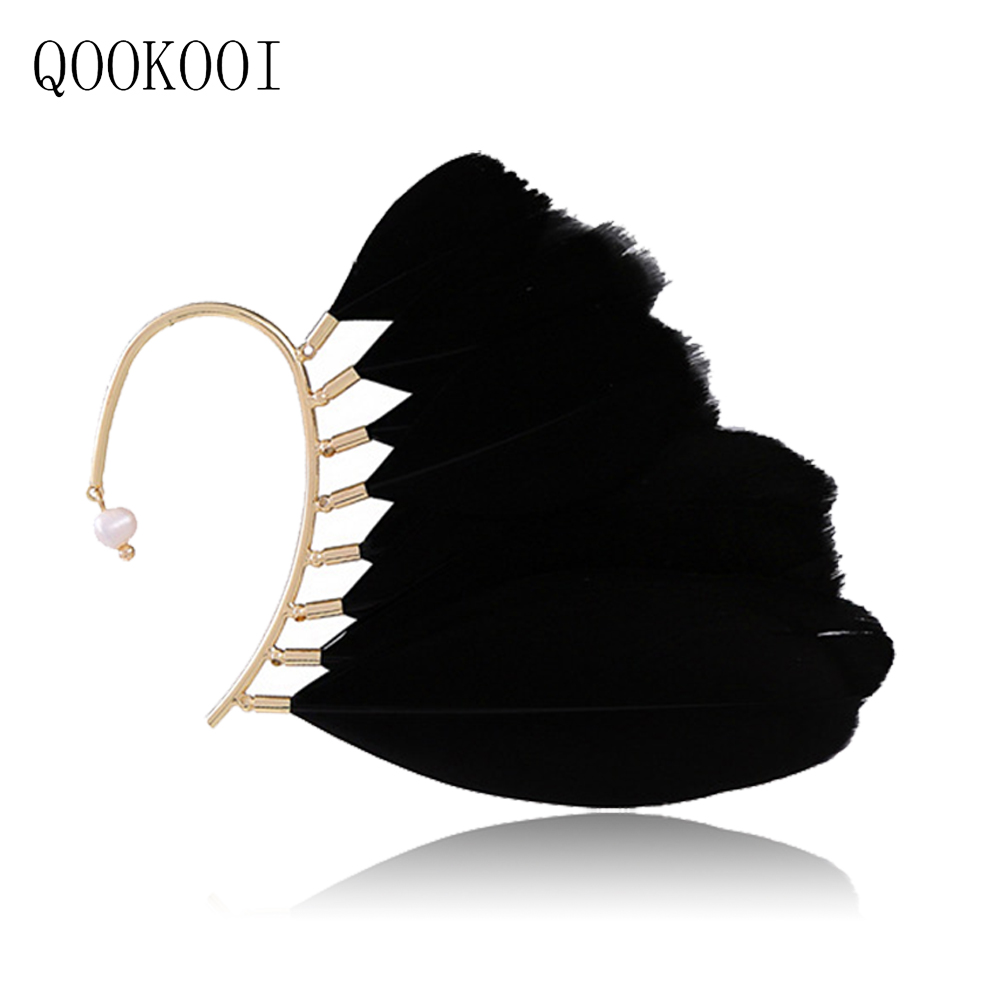QOOKOO I One Piece Cuff Earrings No Piercing Rhinestone Butterfly Ear Clips For Girls Gothic Earing Elves Gold Color Jewelry charming solid color faux gem embellished ear cuff for women one piece