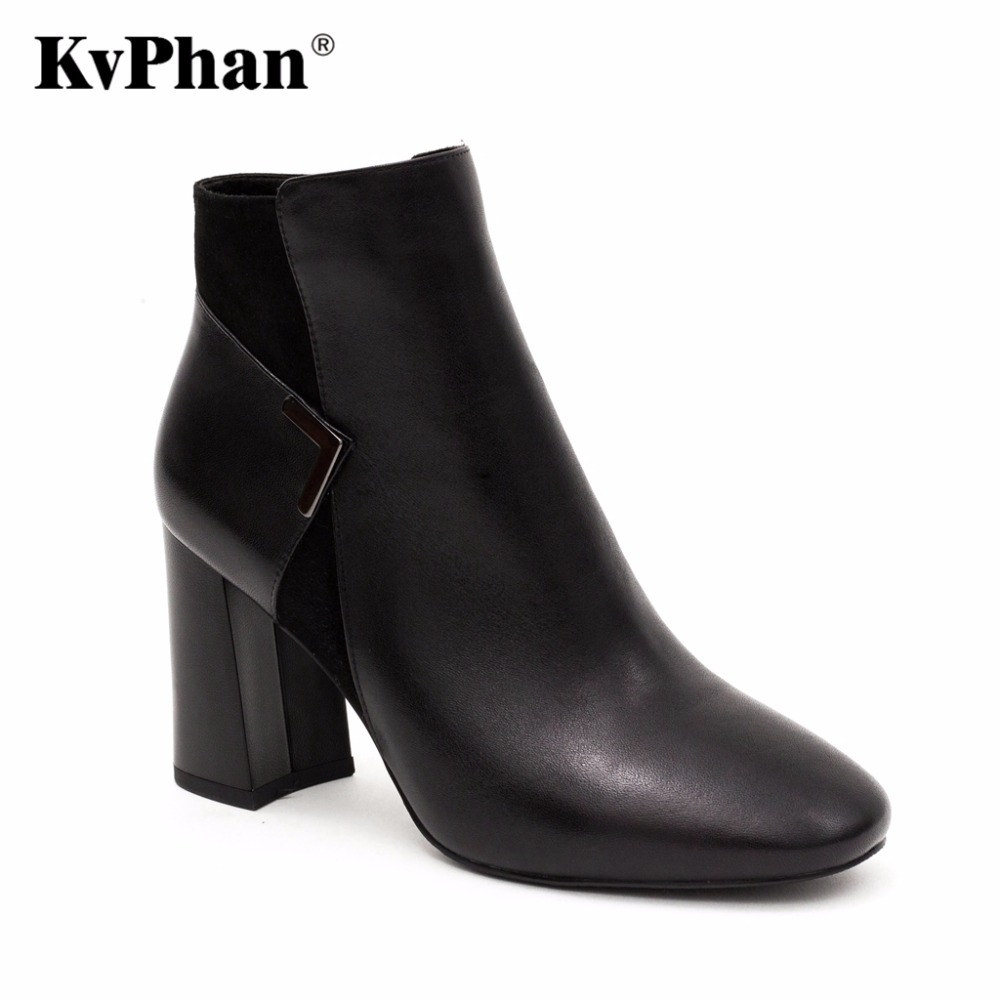 KvPhan Luxury Genuine Leather Ankle Boots High Heels Fashion Pointed toe, square heel, Metal Decoration Zip Handmade Women Shoe fashion pointed toe lace up mens shoes western cowboy boots big yards 46 metal decoration