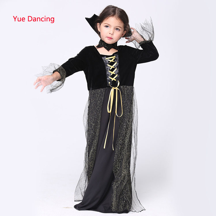 2016 Girl Kids Black Long Skirt Magic Witch Cosplay Costumes For 3-12Y Children Toddler Fancy Clothes Festival School Stage Wear